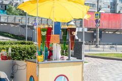 Street stall with drinks in hot weathe royalty free stock photos