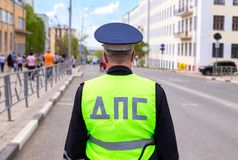 Russian police patrol officer of the State Automobile Inspectora. Samara, Russia - May 9, 2018: Russian police patrol officer of the State Automobile Stock Image