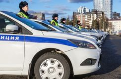 Russian police patrol cars of the State Automobile Inspectorate Royalty Free Stock Photo