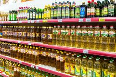 Different packaged sunflower oil ready for sale in the supermark Royalty Free Stock Images