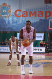 Omar Thomas. SAMARA, RUSSIA - OCTOBER 22: Omar Thomas of BC Krasnye Krylia gets ready to throw from the free throw line in a game against BC Astana on October 22 Royalty Free Stock Images