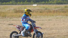 Enduro racer rides a motocross bike. Samara, Russia - September 11, 2018: Training motorcycle rider of the Samara motor club. Enduro racer rides a motocross bike stock video