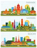 Samara, Sochi and Saransk Russia City Skylines with Color Buildings and Blue Sky