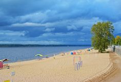 Samara, playground city beach on shores of the Volga River at cloudy autumn day. Samara, sports playground on city beach on the shores of the Volga River at stock images