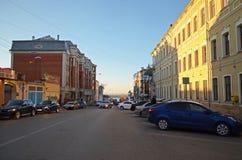 Samara street leading to the embankment at sunset Stock Photo