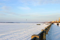Samara Volga embankment in winter Stock Photo