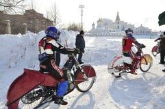 Samara, winter speedway Championship Russia Royalty Free Stock Images