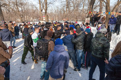 Samara youth celebrates Shrovetide. Royalty Free Stock Photo