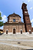 In  the samarate  old   church  closed brick tower sidewalk ital. In  the samarate old   church  closed brick tower sidewalk italy  lombardy Stock Images