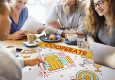 Samarbeta tillsammans Team Teamwork Partnership Concept arkivbilder