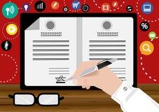Samarbete för överenskommelse för vektoraffärsmarknadsföring undertecknat visuellt I att göra affär med pennan och papper, planlä Royaltyfria Foton