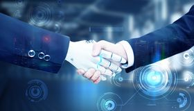 Samarbete för handskakning för teknologiaffärsfolk royaltyfri illustrationer
