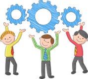 Samarbete företags Team Concept för tecknad filmkugghjulanslutning Arkivfoto