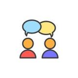 Samarbete konversation fyllde översiktssymbolen, linjen vektortecknet, linjär färgrik pictogram Royaltyfria Bilder