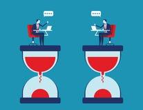 Samarbete och effektivitet Affärsfolk med partnern och arbeta mot tid Illustration f?r begreppsaff?rsvektor vektor illustrationer