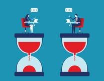Samarbete och effektivitet Affärsfolk med partnern och arbeta mot tid Illustration f?r begreppsaff?rsvektor royaltyfri illustrationer