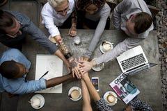 Samarbetsanslutning Team Brainstorming Unity royaltyfri fotografi