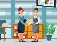 Samarbetsavtal för affärsfolk, handskakning av två affärskvinnor, produktiv partnershi, modern kontorsinre vektor illustrationer