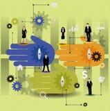Samarbetsdesign med färgrika händer. Arkivbilder