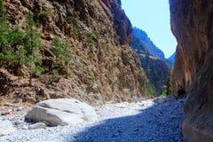 Samaria Gorge Canyon Kreta, Grekland Arkivbild
