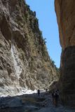 Samaria gorge. Down in the gorge at the Iron gate Stock Photography