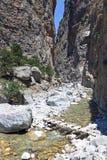 Samaria kanjon i den Crete ön Royaltyfri Foto