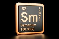 Samarium Sm chemical element. 3D rendering. Samarium Sm, chemical element. 3D rendering isolated on black background royalty free illustration