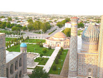 Samarkand from the height of bird's flight. Samarkand from the height of the ancient minaret madrasah Uzbekistan Stock Image
