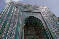 Samarkand, Oezbekistan - April 26, 2015: Ornament van graf in Sjah Stock Foto's