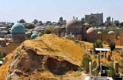 Samarkand: shah-i-zinda ensemble domes stock images