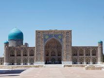Samarkand. Tilya Kori Madrasah at the Registan, Samarkand, Uzbekistan. Registan is one of the most relevant exsamples of islamic architecture. It consists of Royalty Free Stock Photo