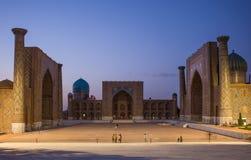 SAMARKAND, USBEQUISTÃO, quadrado de Registan em Samarkand, Usbequistão fotos de stock royalty free