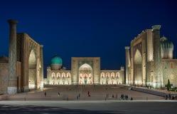 SAMARKAND, USBEQUISTÃO, quadrado de Registan em Samarkand, Usbequistão foto de stock royalty free