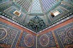 Samarkand, Uzbekistan, sILK rOAD. SHAKHI ZINDA, SAMARKAND, UZBEKISTAN - 22 APRIL 2019: Nice decorated inside of the tomb in historical necropolis was formed stock image