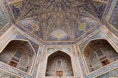 Samarkand, Uzbekistan, Silk Route. Samarkand, Uzbekistan, Registon main square admiring ancient monuments of Samarkand, of architectural pearl on the Silk Route stock images