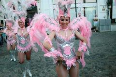 Samba Dance in Bucharest Festival of Stradal Theater 2015 with Santa Cruz group Stock Image
