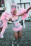 Samba Dance in Bucharest Festival of Stradal Theater 2015 with Santa Cruz group. At Roma Plaza in Bucharest, Romania, the last dance Stock Photography