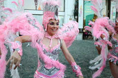 Samba Dance in Bucharest Festival of Stradal Theater 2015 with Santa Cruz group. At Roma Plaza in Bucharest, Romania, the last dance Royalty Free Stock Photo