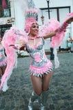 Samba Dance in het Festival van Boekarest van Stradal-Theater 2015 met Santa Cruz-Groep Stock Fotografie