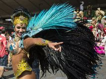Samba Dancer, carnaval de Notting Hill, Londres Foto de archivo