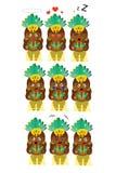 Samba dancer emoticons in nine different emotions stock illustration