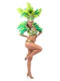 Samba dancer. Female samba dancer wearing colorful costume over white background royalty free stock photography
