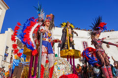 Samba dancer on a Float in the Brazilian style Carnaval Stock Image