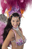 Samba dancer smiling and looking at camera. Stock Photo