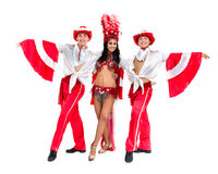 Samba dancer team dancing isolated on white background Stock Photos
