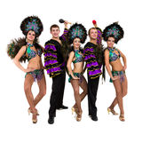 Samba dancer team dancing isolated on white in full length Stock Images