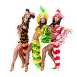 Samba dancer team dancing isolated on white in full length Stock Photography