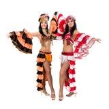 Samba dancer team dancing isolated on white in full length Royalty Free Stock Photos