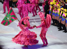 Samba dancers perform during Rio 2016 Olympics Opening Ceremony at Maracana Stadium Stock Photos