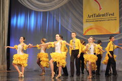 Samba dancers performed by children Royalty Free Stock Image